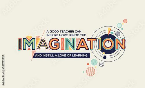 Cuadros en Lienzo  Imagination quote in trendy typography