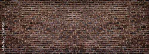 Plakaty brązowe  wide-red-shabby-brick-wall-texture-old-masonry-panorama-dark-rough-brickwork-panoramic-background