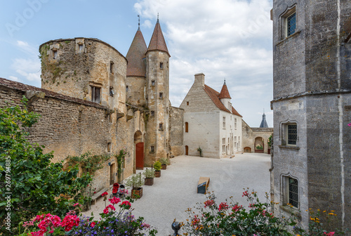 Fényképezés  CHATEAUNEUF / FRANCE - JULY 2015: View to the inner yard of medieval castle of C