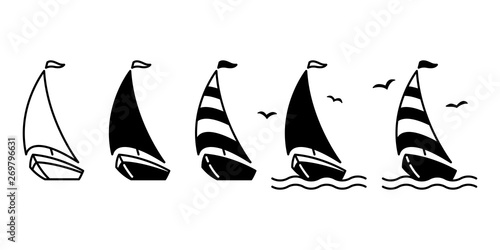 boat vector ship icon logo pirate sailboat yacht cartoon anchor helm bird symbol nautical maritime illustration graphic doodle