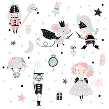 Fairy Childish Pattern With Girl, Nutcracker And Mouse King.