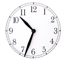Clock Face And Hands On White Background/ Blank Clock Face With Hour, Minute And Second Hands Isolated On White Background. Just Set Your Own Time