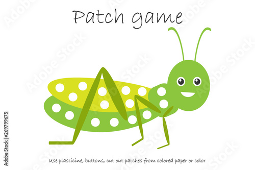 education patch game grasshopper for children to develop motor skills use plasticine patches buttons colored paper or color page kids preschool activity printable worksheet vector illustration buy this stock vector and education patch game grasshopper for