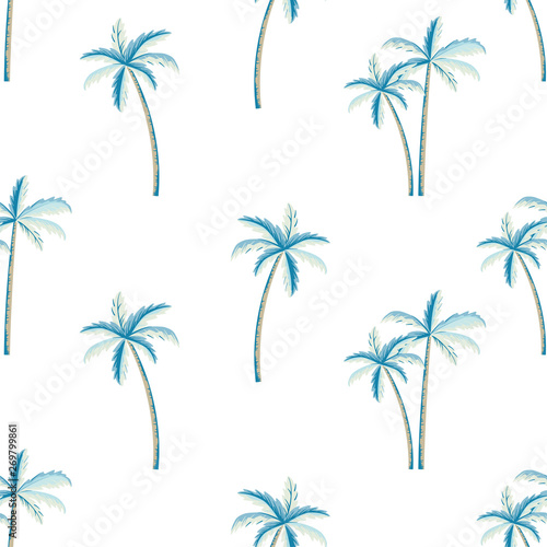 obraz dibond Vector seamless pattern of palm tree, white background