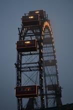 Ferris Wheel Dark Foggy Evening