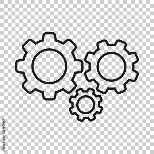 Fototapeta Gear vector icon in transparent style. Cog wheel illustration on background. Gearwheel cogwheel business concept. obraz