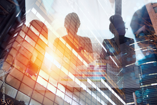 Fototapeta Team of people work together in office. Concept of teamwork and partnership. Double exposure obraz