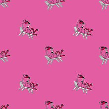 FLAMINGO CHILLING WITH COCKTAIL SEAMLESS PATTERN PINK BACKGROUND
