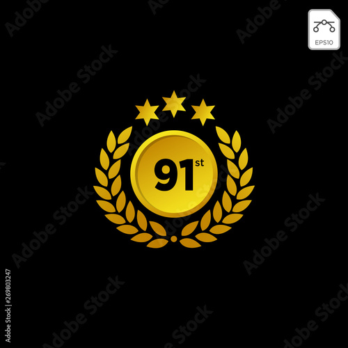 Photographie anniversary emblem 1-99 gold luxury vector decoration illustration