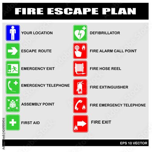 Fototapeta fire escape plan, vector