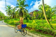 La Digue, Seychelles. Tourist ...