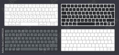 Fotomural  Vector Set of Modern Computer Desktop Laptop Keyboard Keypad Buttons