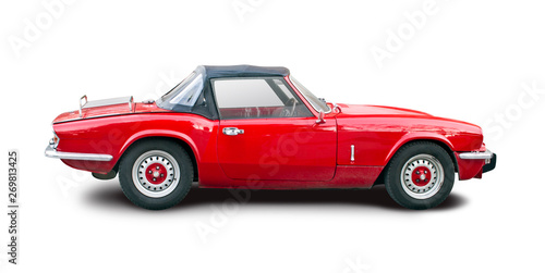 Cadres-photo bureau Vintage voitures Classic British roadster red car isolated on white