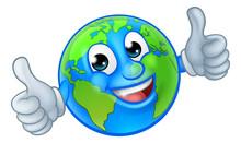 An Earth Globe World Cartoon Character Mascot Giving A Thumbs Up