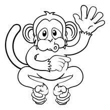 A Monkey Cute Happy Cartoon Ch...