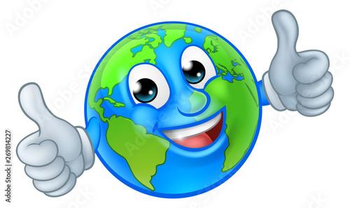 Photo  An earth globe world cartoon character mascot giving a thumbs up