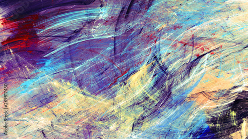 Photo sur Toile Les Textures Bright artistic splashes. Abstract beautiful multicolor painting color texture. Modern futuristic motion color background. Fractal artwork for creative graphic design