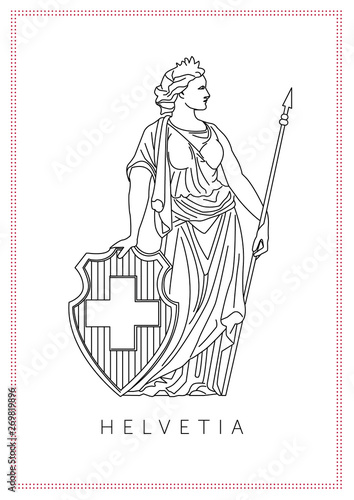 Fotografie, Tablou  graphic illustration of personified symbol of Switzerland Helvetia