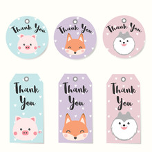 Set Of Label Tags With Animals...