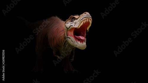 Fotografía Tyrannosaurus rex, T-rex dinosaur from the Jurassic period coming out of the dar