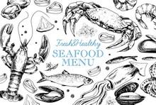 Seafood Vintage Menu In Sketch Style