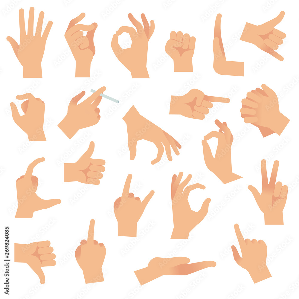 Fototapeta Flat hand gestures. Pointing human finger gesture, open hand signal. Arm communication attention signs vector collection