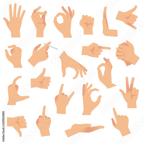 Flat hand gestures. Pointing human finger gesture, open hand signal. Arm communication attention signs vector collection