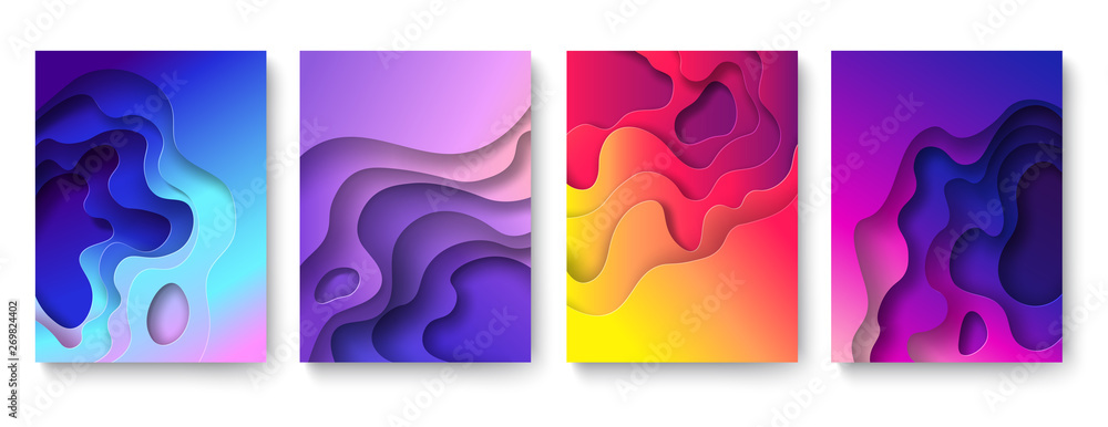 Fototapeta Abstract paper cut background. Cutout fluid shapes, color gradient layers. Cutting papers art. Purple carving 3d vector posters