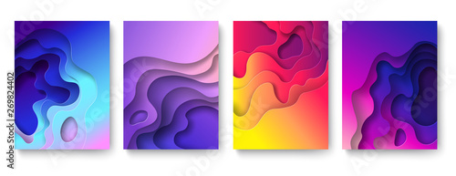 Fototapeta Abstract paper cut background. Cutout fluid shapes, color gradient layers. Cutting papers art. Purple carving 3d vector posters obraz