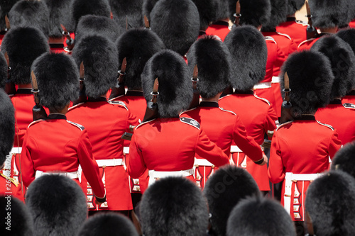 Close up of soldiers marching at the Trooping the Colour military parade at Horse Guards, London UK Canvas Print