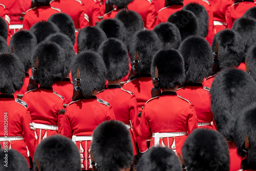 Close up of soldiers marching at the Trooping the Colour