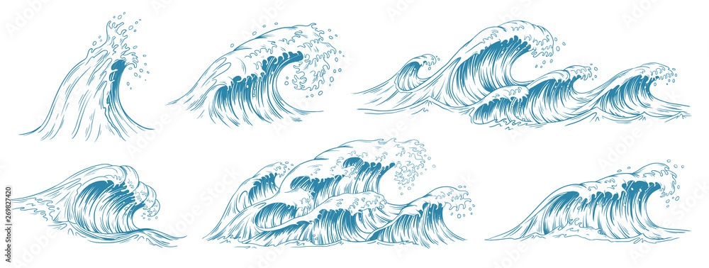 Fototapety, obrazy: Sea waves sketch. Storm wave, vintage tide and ocean beach storms hand drawn vector illustration set