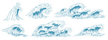 Sea Waves Sketch. Storm Wave, ...