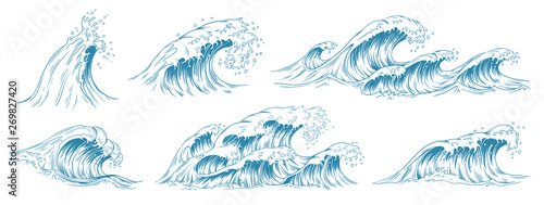 Foto  Sea waves sketch