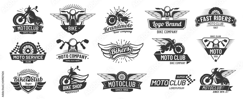Fototapeta Motorcycle badges. Bikers club emblems, motorbike custom repair and wheel wings badge. Retro motorcycles motor emblem vector set