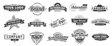 Retro Badge. Old Emblem, Logo Frame And Vintage Silhouette Badges Hipster Design Vector Set