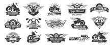 Motorcycle Badges. Bikers Club Emblems, Motorbike Custom Repair And Wheel Wings Badge. Retro Motorcycles Motor Emblem Vector Set