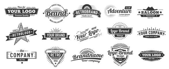 Retro badge. Old emblem, logo frame and vintage silhouette badges hipster design vector set
