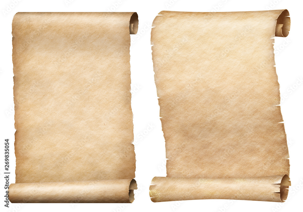 Fototapeta Paper or parchment scrolls set isolated on white