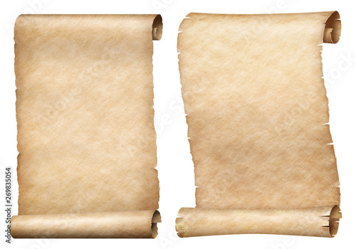 Obraz Paper or parchment scrolls set isolated on white - fototapety do salonu