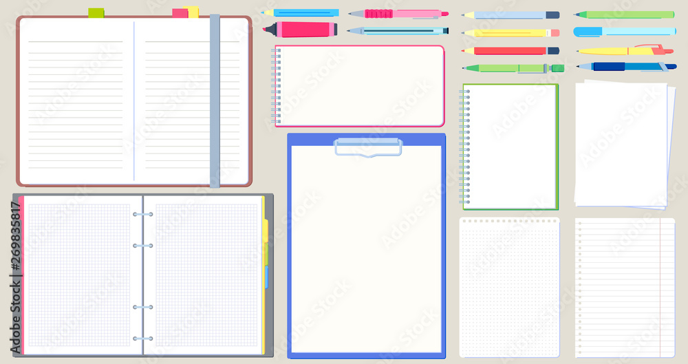 Fototapeta Notebook diary. Open notepad, empty sketchbook with writing pen and drawing pencil vector illustration set