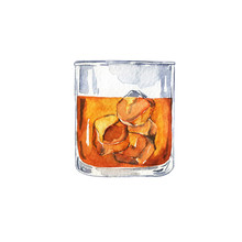 Glass Of Cognac, Scotch Or Whiskey With Ice Isolated On White Background. Hand Drawn Watercolor Illustration.