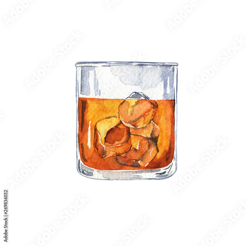 Glass of cognac, scotch or whiskey with ice isolated on white background Canvas Print