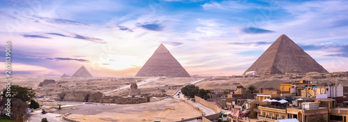 Pyramids and Sphinx at sunset