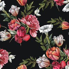 Fototapeta Vintage Floral seamless pattern with watercolor roses, peonies and tulips