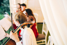 The Music Quartet Plays At The Wedding. String Quartet. The Actor Performs At A Party. Musical Instrument.