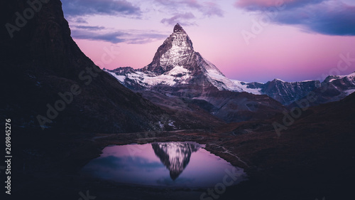 Fotografie, Tablou  Purple sunrise at Swiss Alps, Matterhorn, Switzerland