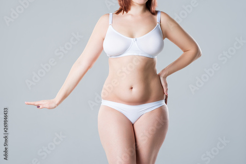 Fotografia, Obraz  Woman with fat flabby belly, overweight female body on gray background
