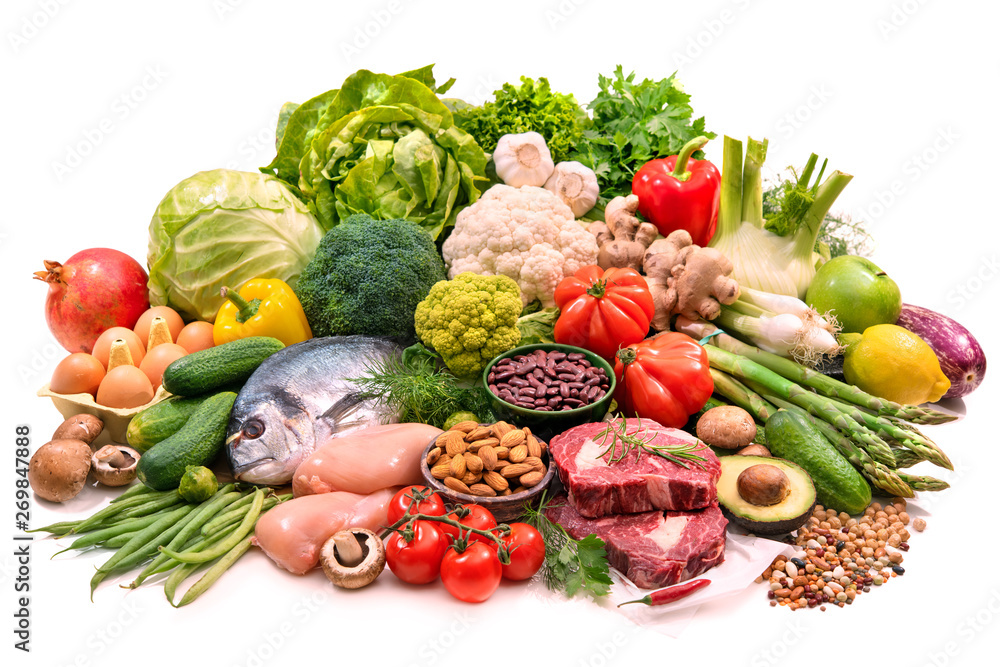 Fototapety, obrazy: Selection of various paleo diet products for healthy nutrition