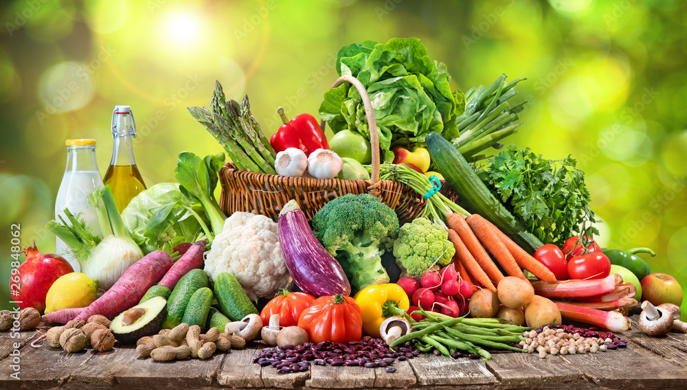 Fototapeta Selection of organic food for healthy nutrition